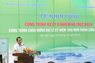 Phó Chủ tịch UBND Thành phố Hà Nội Vũ Hồng Khanh tham dự và phát biểu trong lễ khởi công